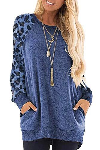 Magritta Damen-Langarm-T-Shirt mit Taschen, Rundhalsausschnitt, lockeres Sweatshirt Gr. Large, Blauer Leopard