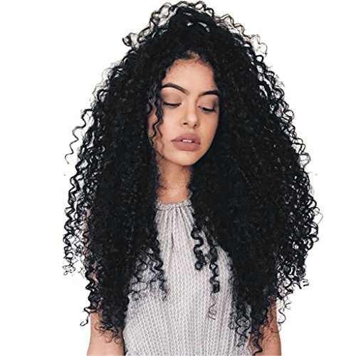 T TOOYFUL Afro Long Black Fashion Black Curly Hair Synthetic Daily Costume Full Wigs