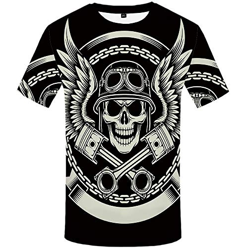 KYKU Skull Shirts for Men Heavy Metal T Shirts Motorcycle Tshirts Graphic Tees (Large)