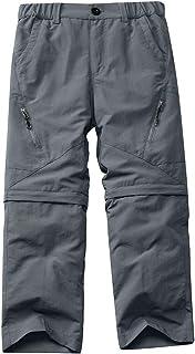 Asfixiado Boys Cargo Pants, Kids Youth Girls Athletic Outdoor Quick Dry UPF 50+ Waterproof Hiking Climbing Convertible Tro...