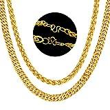Collar de Cadena Cubana,BESTZY 2 piezas Curb Cuban Chain 50cm Aleación Collar Decorativo de la Ropa de los Hombres (Chapado en oro de 18 quilates)