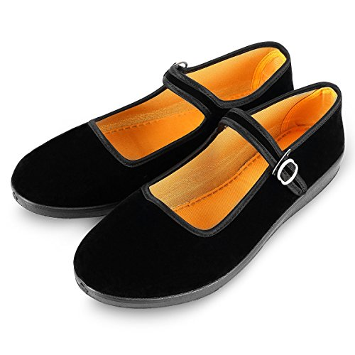 APIKA Women's Velvet Mary Jane Shoes Black Cottton Old Beijing Cloth Flats Yoga Exercise Dance Shoes (US 7.5)
