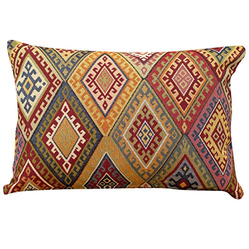 Linen Loft Traditional Kilim Style Boudoir Filled Cushion. 17x12 Rectangle Pillow. Classic Vintage Turkish Style Woven Geometric Tapestry Diamond Pattern. (Synthetic filled)