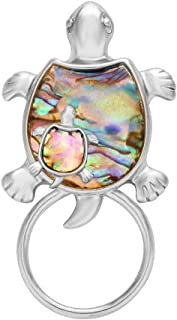 Gold Sea Turtle Natural Abalone Shell Magnet Clip Magnetic Eyeglass Holder Brooch Jewelry