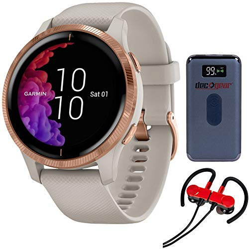 Garmin 010-02173-21 Venu Amoled GPS Smartwatch - Light Sand with Rose Gold Hardware Bundle with Deco Gear Magnetic Wireless Sport Earbuds, Red and Deco Gear Power Bank 8000mAh with Wireless Charging