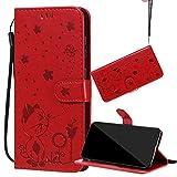 Yiizy Handyhüllen für LG K40 Tasche Leder, Katze und Biene PU Schale Brieftasche Schutzhülle für LG K40 Silikon Cover Hülle mit Kartenfächer (Rot)