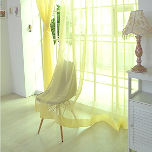 ToDIDAF Transparente Gardinen Vorhang, 1 x 2,7 m Einfarbige Organdy-Vorhänge Tüll Fenster Behandlung Voile Drapieren Volant, 2 Plattenstoff für Wohnzimmer Schlafzimmer Kinderzimmer Babyzimmer Deko (E)