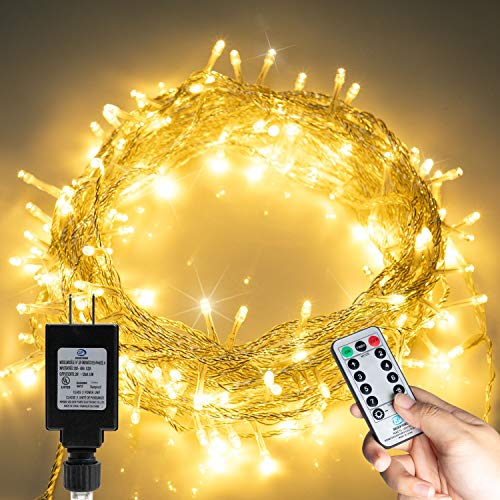 66FT 200 LED Christmas Tree Lights, Twinkle Fairy Lights String with 8 Flashing Modes Remote Control for Indoor Bedroom Outdoor Christmas Trees Garland Wreath Holiday Decorations, Warm White