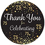 Black and Gold 75th Birthday Thank You Stickers - 1.75 in - 40 Labels