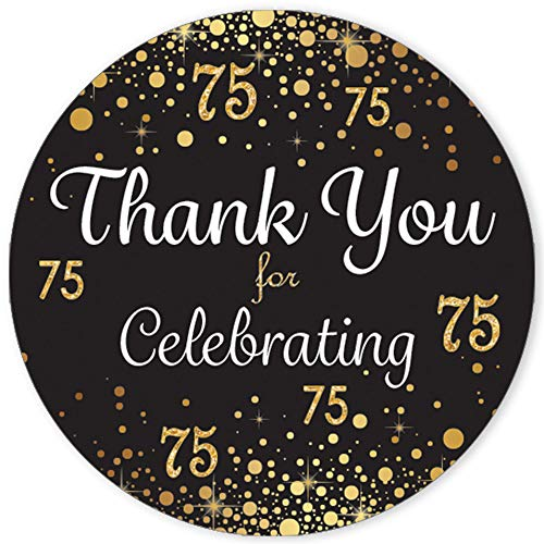 """Black and Gold Thank You 1.75"""" Stickers - 40 Labels"""