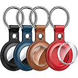 LeYi Compatible for Apple AirTag Holder, AirTag Case [4 Pack], Protective PU Leather 360 Full Body AirTags Keychain, Air Tag Holder Tracker Cover, AirTag Key Ring, AirTag Dog Collar, 4 Color
