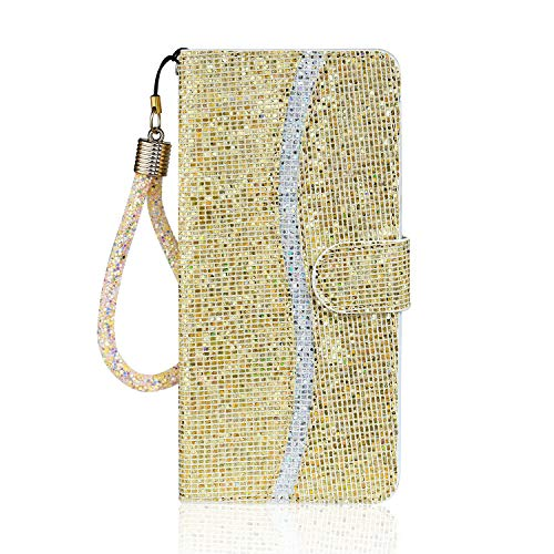 Nadoli for Xiaomi Redmi Note 9 Pro Glitter Case,Fashion Style Sequin Pattern Soft Inner Pu Leather Magnetic Closure Wrist Strap Bling Shiny Wallet Flip Case Cover with Stand Function