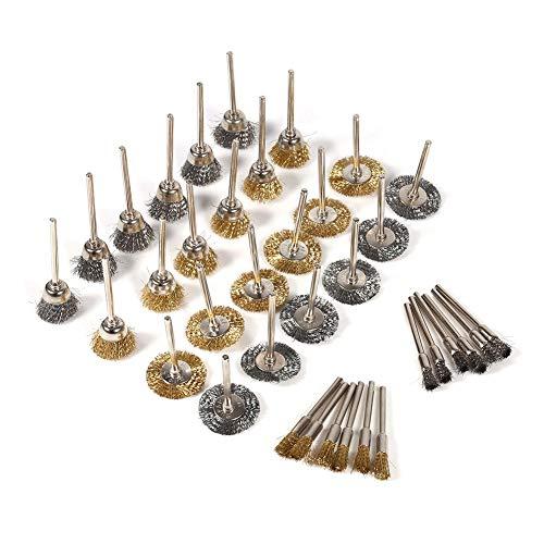 36 stks Wire Brush voor Boor Reinigingsset, Messing Koper RVS Wiel Borstels Pen Cup Gevormde Tool Kit