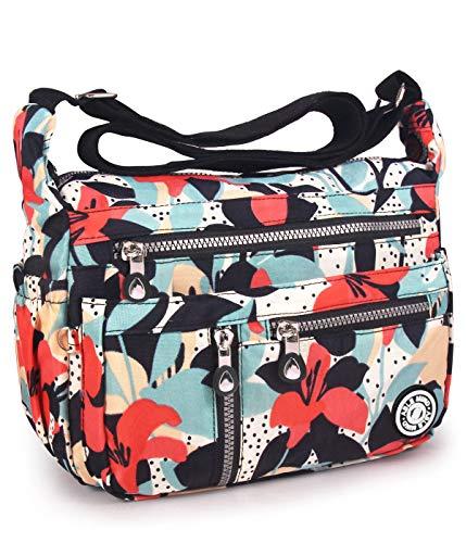 Able Damen-Umhängetasche, spritzwassergeschützt, Schultertasche, Kuriertasche, Rot - 4-Calla Lilienblüte - Größe: 11.8