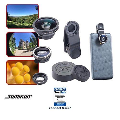 Somikon Vorsatzlinsen: Premium-Vorsatz-Linsen-Set mit Weitwinkel, Fischauge und Makro (Smartphone Linse)