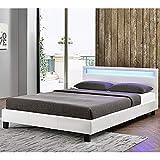 ArtLife Polsterbett Verona 120 × 200 cm weiß | Bettgestell inkl. LED-Beleuchtung, Kunstleder & Lattenrost | Einzelbett Jugendbett Bett