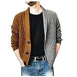 URIBAKY - Abrigo de punto para hombre con botones y cremallera en dos colores, transpirable y ligero, ideal para correr, para hacer deporte, marrón, XXXXL
