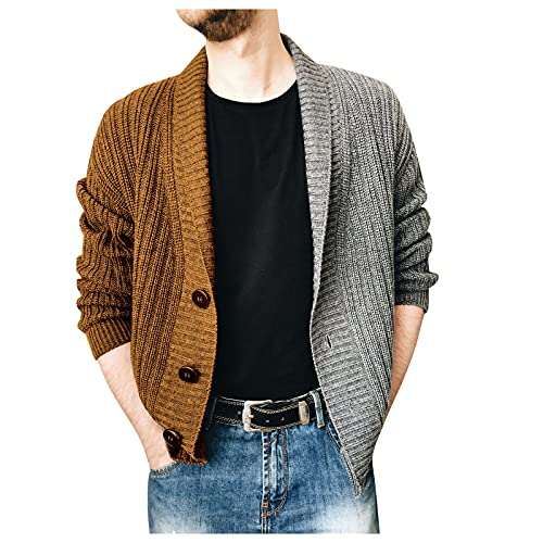 MTENG Mens Stylish Cardigan Sweaters Winter 2 Buttons Turn-down Collar Loose Casual Contrast Knitwear Outerwear