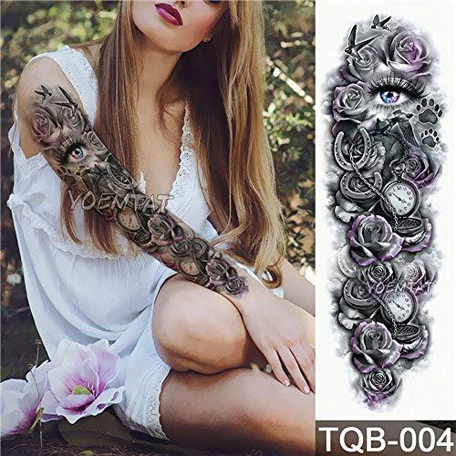 5pcs Nueva Etiqueta engomada del Tatuaje de Flores de Color Rosa peonía patrón de Flores de Todo el Brazo Tatuaje con Grandes Tatuajes Arte Corporal 5Pcs-