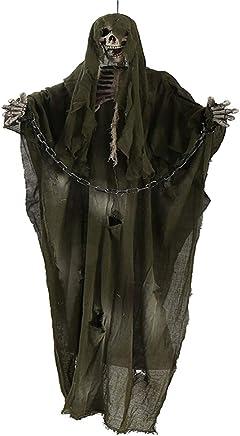 Blanc bottlewise 180cm Cr/âne anim/é pendu de Grande Faucheuse avec cha/înes de Mailles Accessoire D/écoration pour Halloween