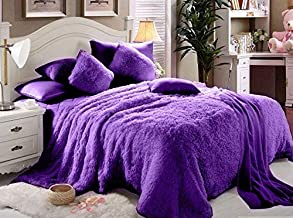 Luxe Soft Faux Fur Purple Double King Set Of 6-piece Solid Bedding Set