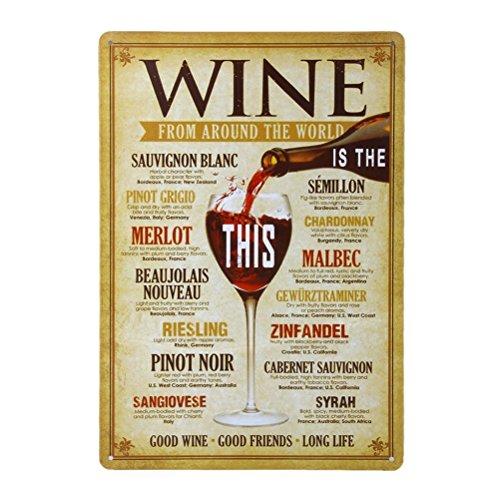 Healifty Weinlesemetallzinn-Wein von der Ganzen Welt kennzeichnen für Café-Bar-Kneipen-Bier