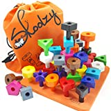 Skoolzy Peg Board Toddler Stacking Toys - STEM Color Sorting Learning Games - Montessori Toys for 1, 2, 3, 4...