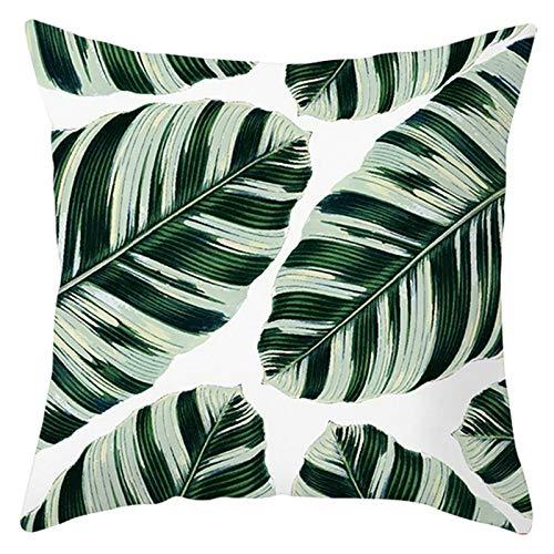 Adokiss Funda de cojín de poliéster con diseño de hojas, suave, cuadrada, para sofá, dormitorio, coche, decoración, sin relleno, color blanco y verde, 50 x 50 cm, estilo 14