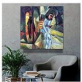 Gigoo August Macke Old Famous Master Artist Pierrot Cuadro de Pintura Impresión de Lienzo para decoración de habitación Impresión de Arte de Pared en lienzo60x60cm sin Marco