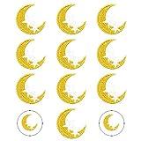 Nifocc 10 toppe ricamate a forma di stella della luna da applicare con il ferro da stiro, per vestiti, jeans, giacche, cappelli, borse, zaini, scarpe, decorazioni
