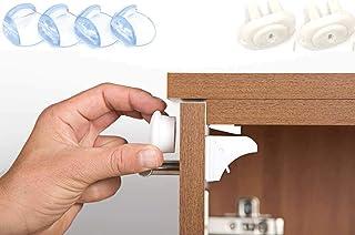 Child safety lock 12 + 3 Magnetic Locks + Bonus, Baby Safety Kit (46 piece) Magnetic Cabinet Locks (12 Locks 3 Keys) + 4 C...