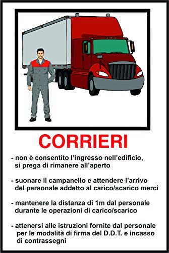Cartello REGOLE INGRESSO CORRIERI - COVID-19 in alluminio 16,5x25 cm