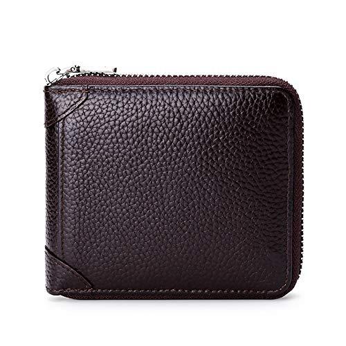 HANGYIKJ Herrenbrieftasche Große Kapazität Casual Reißverschluss Lange Brieftasche Clutch Bag Tragbare Multi-Karten-Brieftasche Kurze Karte Reißverschluss Führerschein Kartentasche