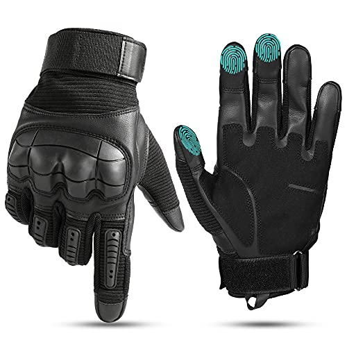 YOSUNPING Motorcycle Touchscreen Full Finger Gloves Protection for Tactical Military Army Airsoft Paintball Motorbike Cycling ATV Bike Riding Racing Camping Hiking Hunting Outdoor Work Gloves Black S