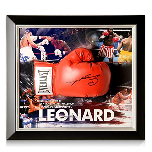 exclusivememorabilia.com Guante de Boxeo Firmado por Sugar Ray Leonard. Enmarcado | Recuerdos...