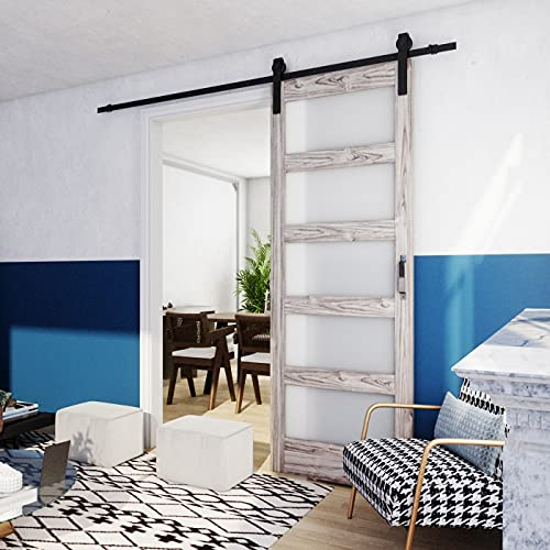 TENONER DIY Glass Sliding Barn Door, 30 inches x 84 inches,Grey, with...
