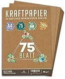 hojas de papel Kraft A4 Set - 260 g - 21 x 29,7 cm - Formato DIN Papel artesanal y cartulina natural Cartón Hojas de papel Kraft para imprimir, Papel de cartulina Elaboración de etiquetas (75 hojas)