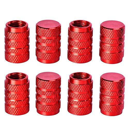 Tapas de válvula de neumático, tapa universal de aluminio para válvula de neumático, cubierta de válvula a prueba de polvo para coches, SUV, bicicleta y bicicleta, camiones, motocicletas (rojo)