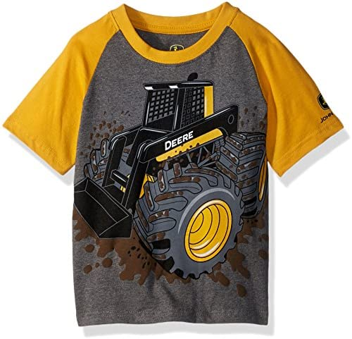 John Deere Boys Toddler T Shirt Heather Grey Construction Yellow 4T product image