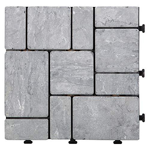 HORI® Terrassenfliesen steinoptik I Klick Bodenfliesen aus Naturstein I Modell: Steine grau grob