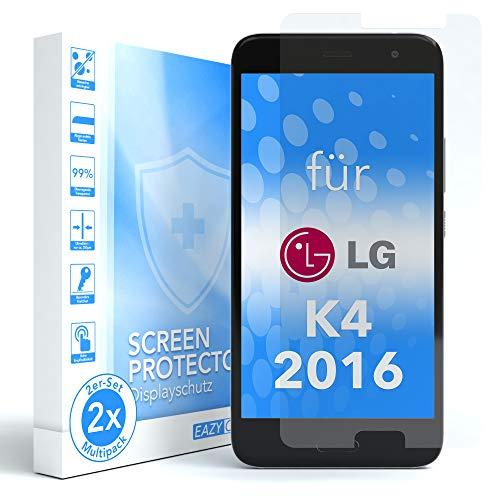 EAZY CASE 2X Panzerglas Bildschirmschutz 9H Festigkeit für LG K4 (2016), nur 0,3 mm dick I Schutzglas aus gehärteter 2,5D Panzerglasfolie, Bildschirmschutzglas, Transparent/Kristallklar