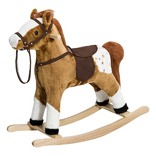 Qaba Kids Plush Toy Rocking Horse Pony with Realistic Sounds - Brown