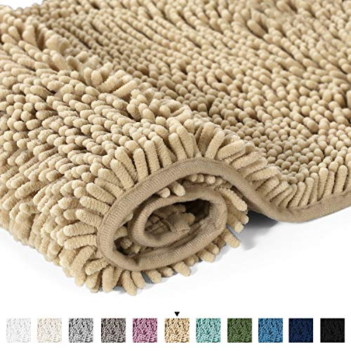 Ultra Soft Texture Chenille Plush Bath Rugs Floor Mats, Hand Tufted Bath Rug Non Slip Microfiber Door Mat for Kitchen/Entryway/Living Room, 32 by 20 inches, Beige