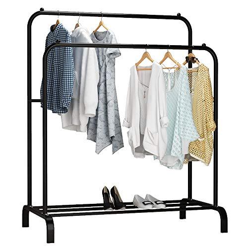 Udear Zhujia Freistehender Kleiderständer mit Doppelstangen, multifunktional, Schlafzimmer-Kleiderständer, Schwarz