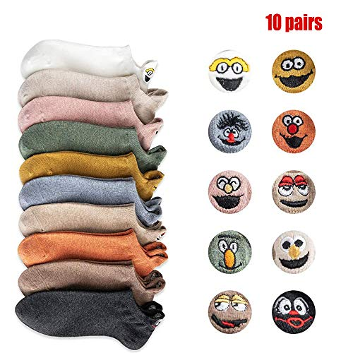 Flow.month Söckchen lustige Socken Damen Herren witzige Strümpfe,10 Paare Cartoon Stickerei Ausdruck Smiley Socken Unsichtbare Bootssocken, Einheitsgröße(a11)