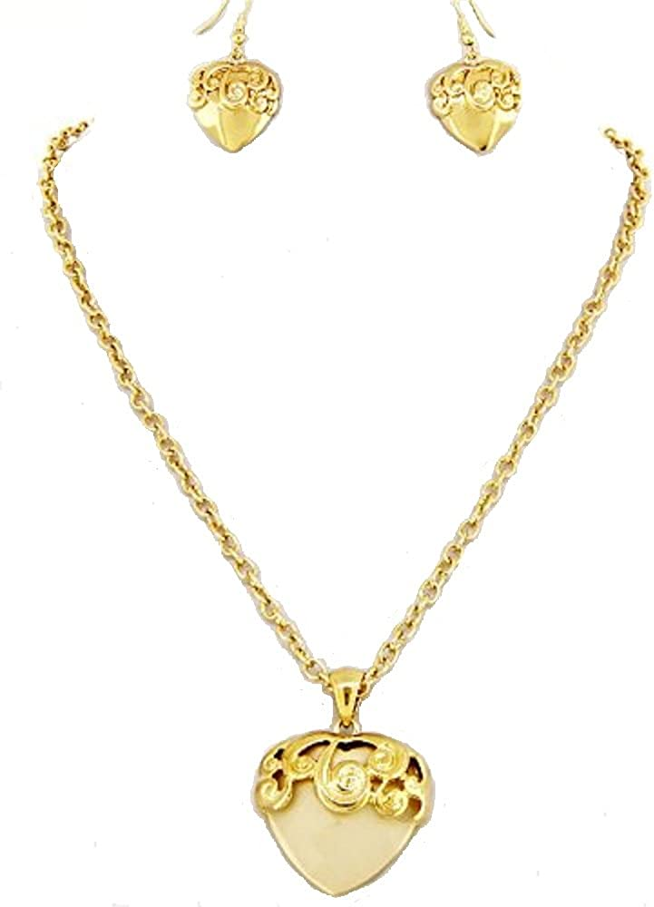 Rose's Gift Store~Fashion Jewelry Ivory Heart with Gold Tone Swirls Necklace and Earring Set