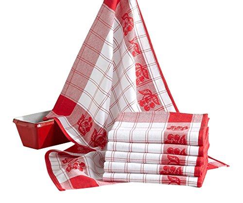 Comptoir du Linge CDL6TCORCR Coralie Lot de 6 Torchons de Cuisine Coton Rouge 70 x 50 x 0,5 cm