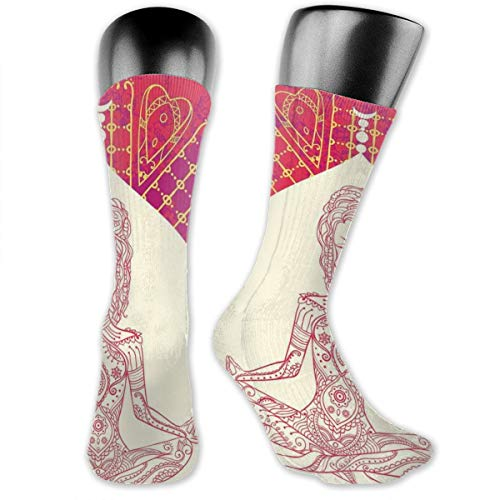 Compression Medium Calf Socks,Eastren Inspired Lady Doing Yoga Motif On Bohemian Grungy Look Backdrop Print