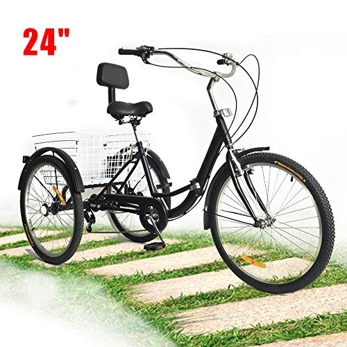"BTdahong 24"" Triciclo Adulto, Bicicleta 3 Ruedas Adulto, Bicicleta de Pedales 7 Velocidades, Tríciclo de Bicicleta Plegable para Adultos, Bicicleta de Paseo con 3 Ruedas"