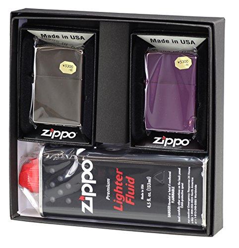 【ZIPPO】 ジッポーライター オイル ライター ペア 大人気ブラックアイスジッポ&アビス(Abyss) 2個セット ペアセット専用パッケージ入り(オイル缶付き)